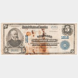 1902 The Rockford National Bank Plain Back $5 Note