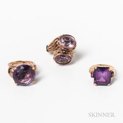 Three 14kt Gold and Amethyst Rings