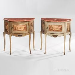 Pair of Italian Marble-top Painted Side Tables