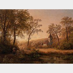 Herman Herzog (German, 1831-1932)      Sunset on the Ruhr Valley