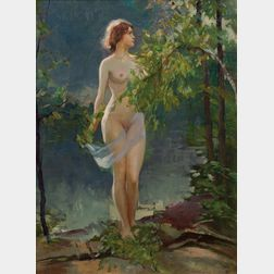 Emile Albert Gruppé (American, 1896-1978)      Nude by a Pond's Edge