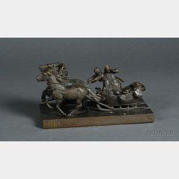 Russian Bronze Figure of a Speeding Troika