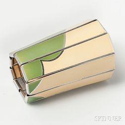 Art Deco Enamel and Aluminum Cuff