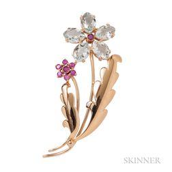 Retro 14kt Gold, Aquamarine, and Ruby Flower Brooch, Wordley, Allsopp & Bliss, Tiffany & Co.