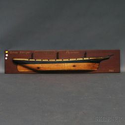Painted and Mahogany-mounted Half-hull Ship Model of the Tavistock