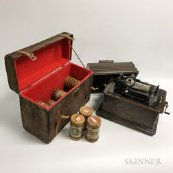 Edison Phonograph, Cylinders, and Horn.     Estimate $200-400