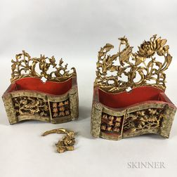 Pair of Carved Red Lacquer and Gilt Wall Pockets