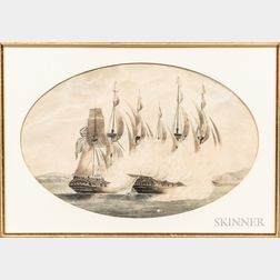 British School, Early 19th Century      Pair of Paintings of the HMS Aeolus   in Action off Santo Domingo, 1803