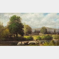 American School, 19th Century       River Scene with Cows
