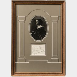 Two Framed Autographs Including Sarah Bernhardt and Henry Lauder