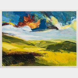 David Leverett (British, 1938-2020)      Two Framed Prints: Landlines