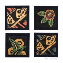 Four Wiener Werkstatte-style Silk Panels
