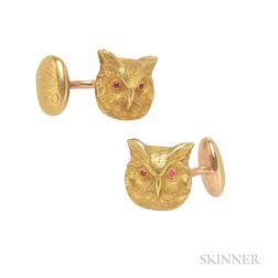 Art Nouveau 14kt Gold Owl Cuff Links, Krementz & Co.
