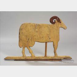 Painted Wood and Sheet Iron Ram Weathervane
