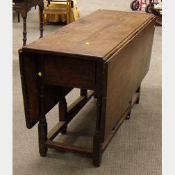William & Mary Style Oak Drop-leaf Gate-leg Table