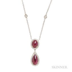 18kt Gold, Ruby, and Diamond Pendant Necklace