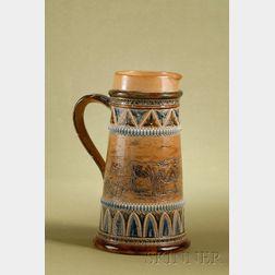 Large Doulton Lambeth Salt-glaze Stoneware Beer Pitcher