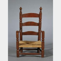 Red-painted Maple and Ash Child's Slat-back Armchair