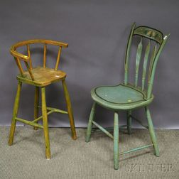 Martha Cahoon Painted and Trumpet Vine-decorated Windsor Thumb-back Arrow-back Side Chair and a Green-painted Childs Windsor High Chai
