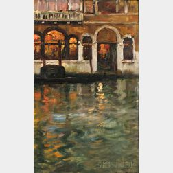 Maurice Bompard (French, 1857-1936)      Venise, Canal Reflections, Evening