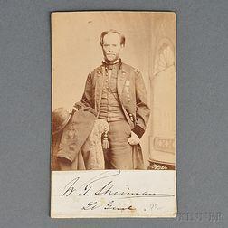 Lieutenant General William T. Sherman Carte-de-visite with Clipped Autograph