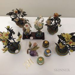 Ten Miniature Hardstone and Cloisonne Items