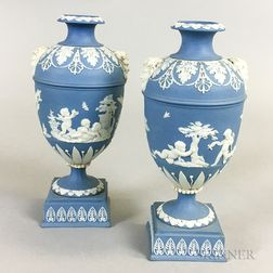 Pair of Small Wedgwood Blue Jasper Urns