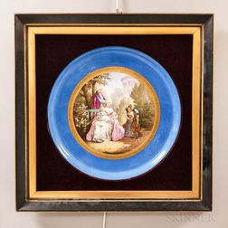 Framed Sevres-style Hand-painted Figural Ceramic Charger