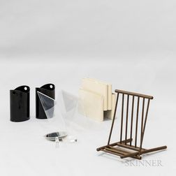 Kartell Magazine Rack, a Lucite Rack, a Lucite Mirror, a Folding Stool, and Two Wastebaskets.     Estimate $100-150