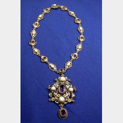 Antique Gem-set and Enamel Pendant Necklace
