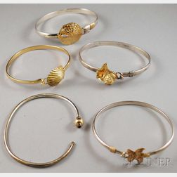 Five Sterling Silver and 14kt Gold Bangles