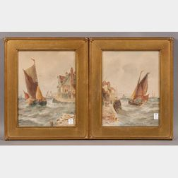 Robert Thornton Wilding (British, fl. circa 1915)      Two Harbor Views