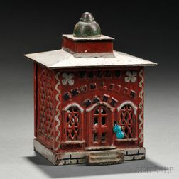 """Painted Cast Iron Mechanical """"Hall's Excelsior Bank"""" Bank"""
