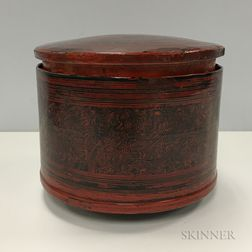 Cinnabar Covered Round Box