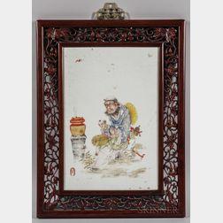Enameled Porcelain Plaque in a Wood Frame
