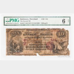 1875 The Second National Bank of Baltimore $10 Note, PMG Good 6 Net
