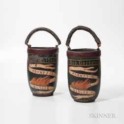 """Pair of Painted """"Prompt in Danger"""" Fire Buckets"""