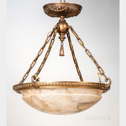 Alabaster and Gilt-bronze Hanging Light Fixture
