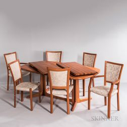 J.L. Møller Dining Table and Six Chairs