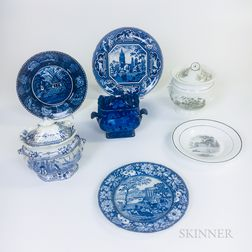 Seven Transfer-decorated Ceramic Tableware Items Including Three Mount Vernon
