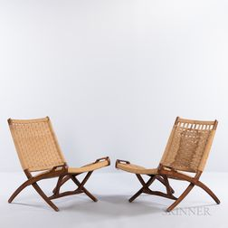 Two Wegner-style Corded Folding Chairs