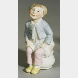 All Bisque Molded Figure on Chamber Pot
