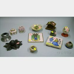 Collection of Nine Inkwells, Two Faience Tiles, and an Asian Ceramic Incense Burner