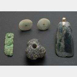 Four Pre-Columbian Carved Jade Items