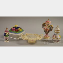 Five Assorted European Decorated Porcelain Articles