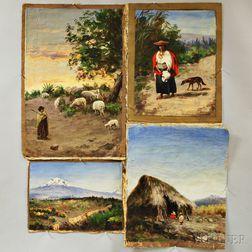 Cesar Villacres (Ecuadorian, 1880-1941)      Four Unstretched Oils on Canvas:   Woman Herding Goats