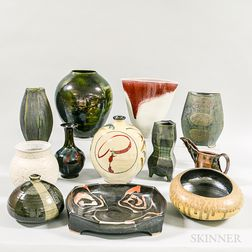 Twelve Contemporary Art Pottery Vases and Bowls