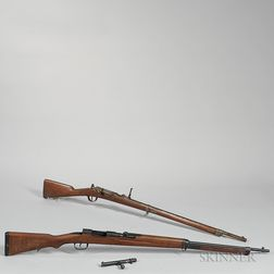 A Model 1866 Chessepot Bolt-action Rifle and a Japanese Arisaka Type I Bolt-action Rifle
