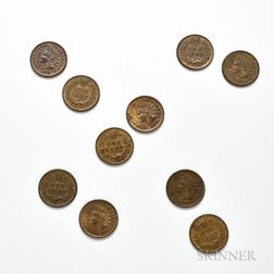 Ten 1874 Indian Head Cents