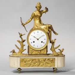 Louis XV-style Gilt-bronze Figural Clock